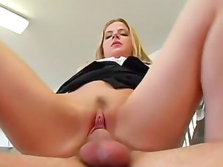 Cute amateur blonde lifts up her skirt for a sex session with a hunk