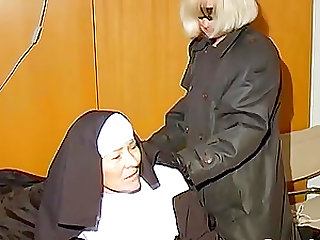 Amateur granny lesbians are horny and playing with whip and adult toys