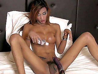 Hot ladyboy with amazing boobs likes playing with her boner and anus