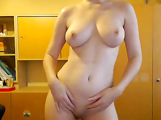 Hot nerdy girl stripping and dancing nude on webcam