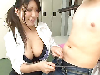 Japanese office worker seduces a fellow with her hot body