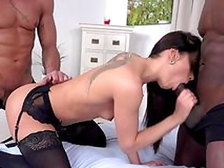 Slim brunette insane scenes of threesome the hard way