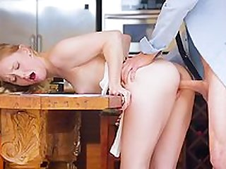 Blonde with small tits hard fucked on the kitchen table