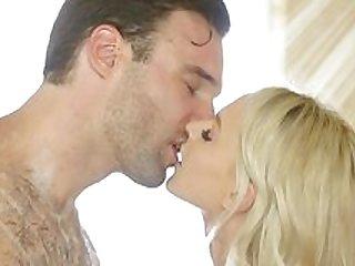 Smashing blonde tries cock after sensual massage