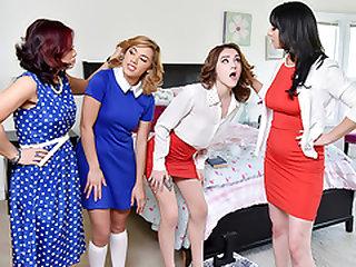 Sexy Milfs Swap Their Aggressive Teen Slut Daughte