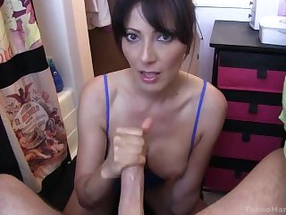Mom Catches Son Wanking and Helps with a Deepthroat Blowjob