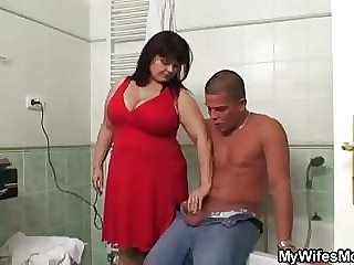 Busty mom and son-in-law fucking